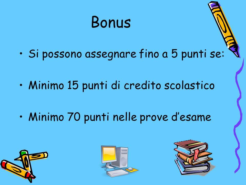Bonus Si possono assegnare fino a 5 punti se: Minimo 15 punti di credito scolastico Minimo 70 punti nelle prove desame