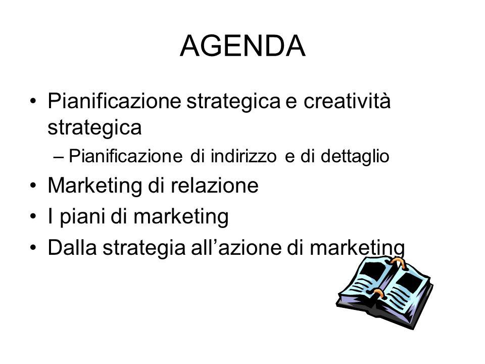AGENDA Pianificazione strategica e creatività strategica –Pianificazione di indirizzo e di dettaglio Marketing di relazione I piani di marketing Dalla