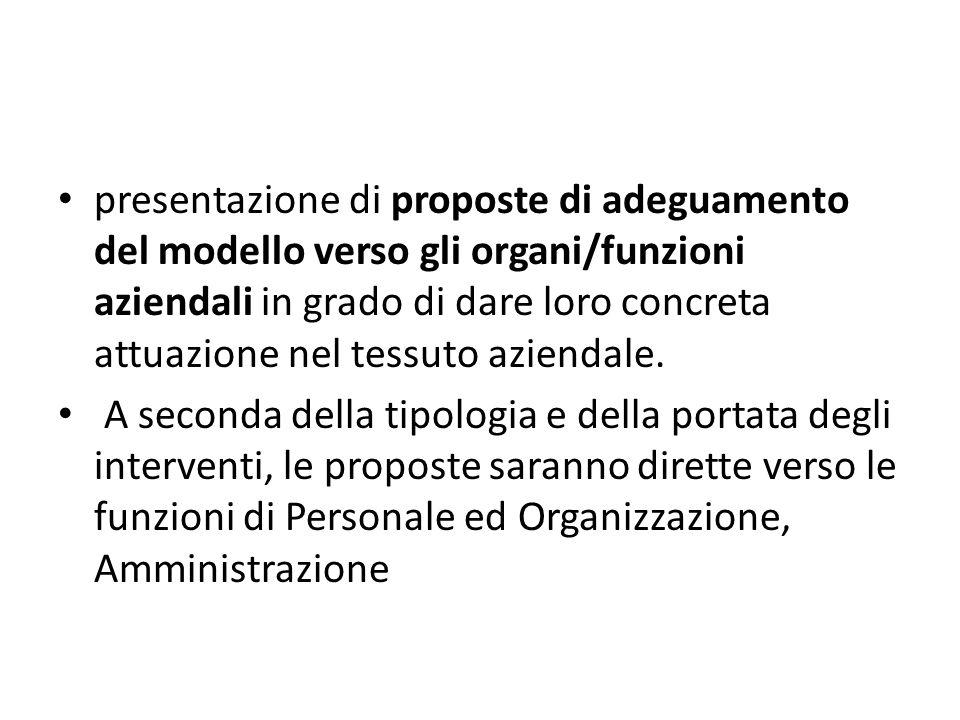 presentazione di proposte di adeguamento del modello verso gli organi/funzioni aziendali in grado di dare loro concreta attuazione nel tessuto aziendale.