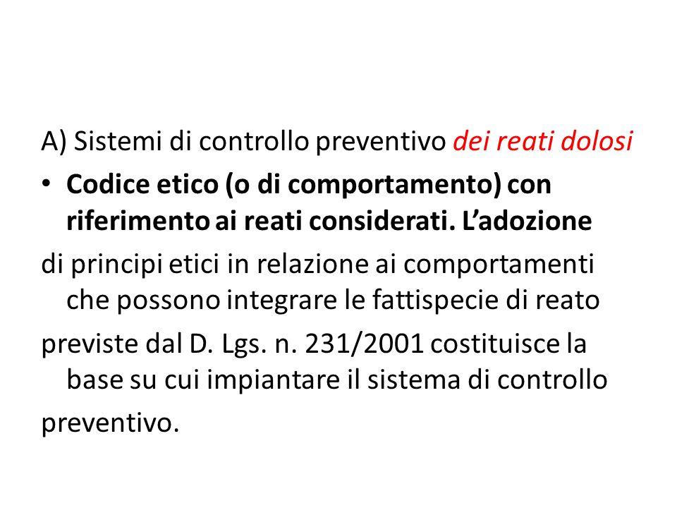 A) Sistemi di controllo preventivo dei reati dolosi Codice etico (o di comportamento) con riferimento ai reati considerati.