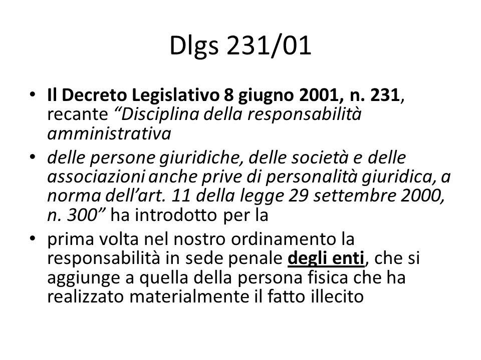 Dlgs 231/01 Il Decreto Legislativo 8 giugno 2001, n.