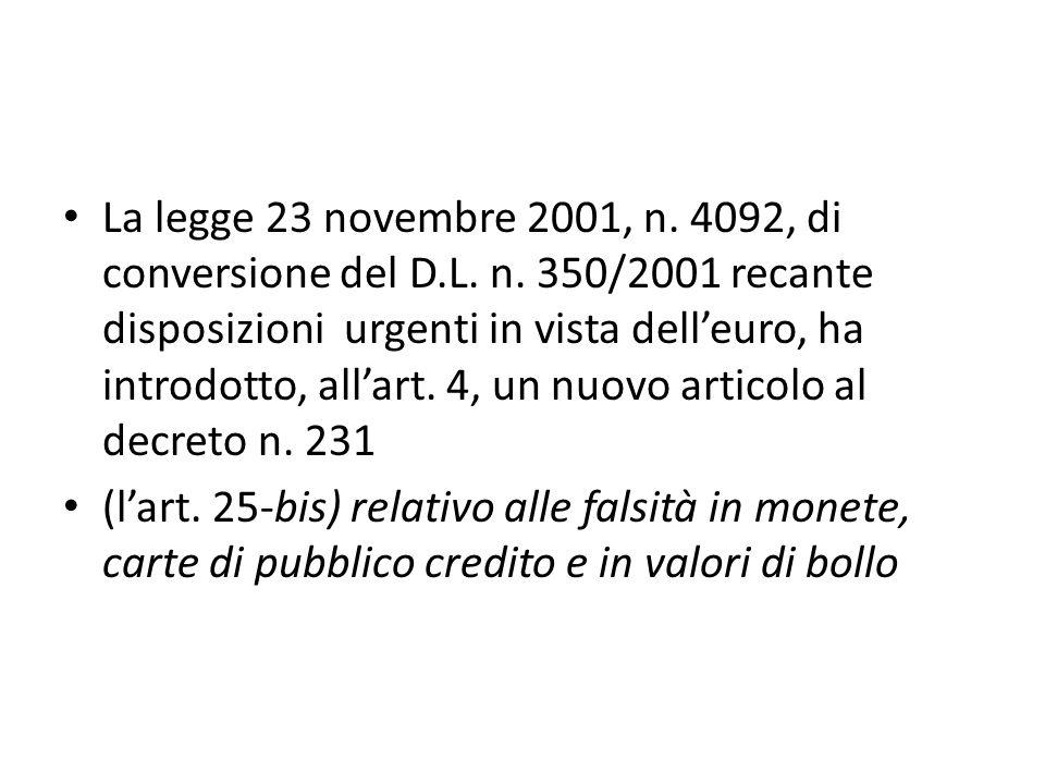 La legge 23 novembre 2001, n. 4092, di conversione del D.L.
