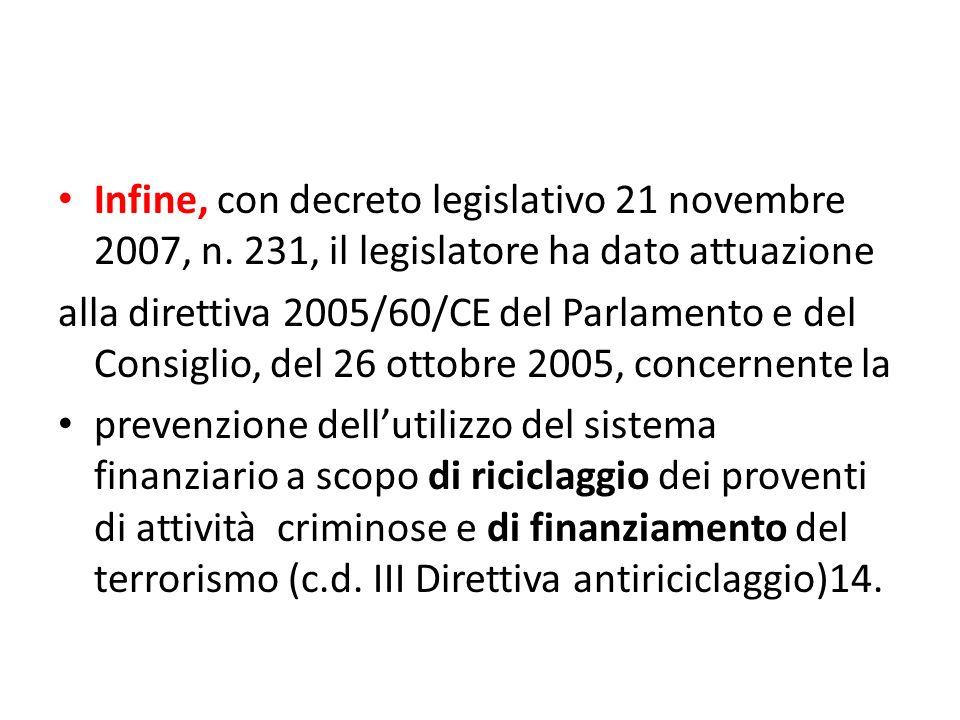 Infine, con decreto legislativo 21 novembre 2007, n.