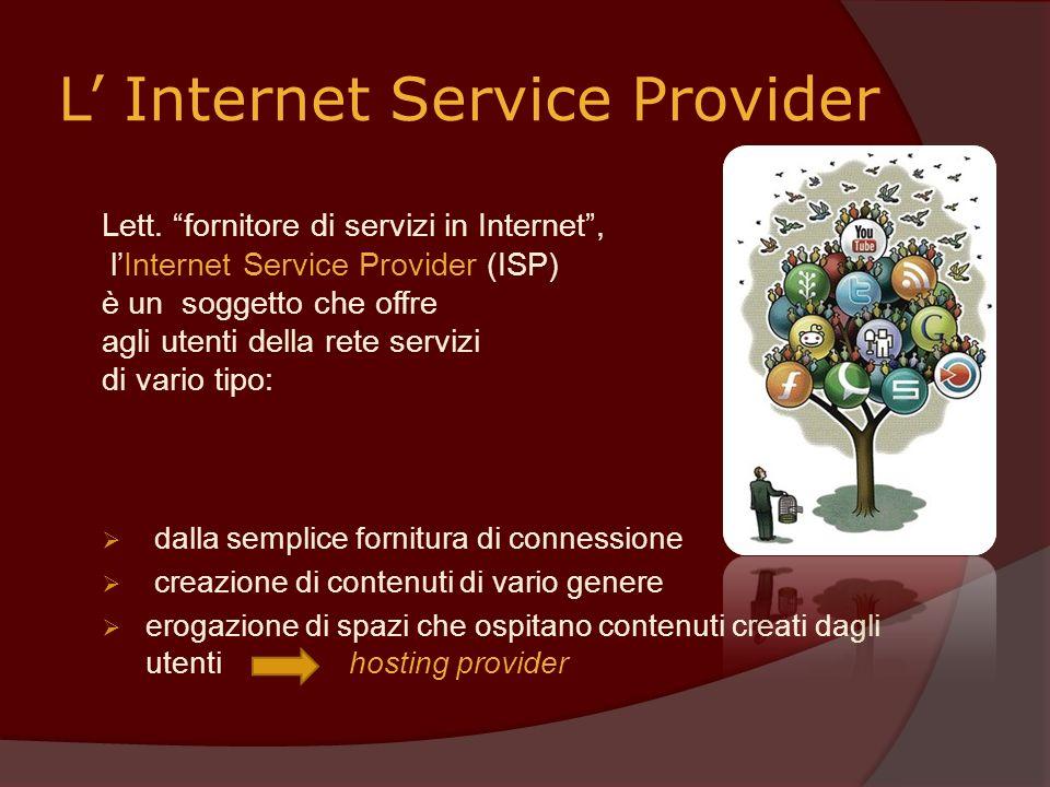 L Internet Service Provider Lett. fornitore di servizi in Internet, lInternet Service Provider (ISP) è un soggetto che offre agli utenti della rete se