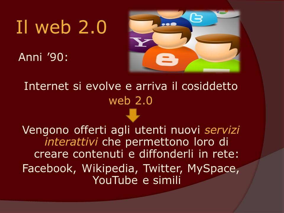 Il web 2.0 Anni 90: Internet si evolve e arriva il cosiddetto web 2.0 Vengono offerti agli utenti nuovi servizi interattivi che permettono loro di cre