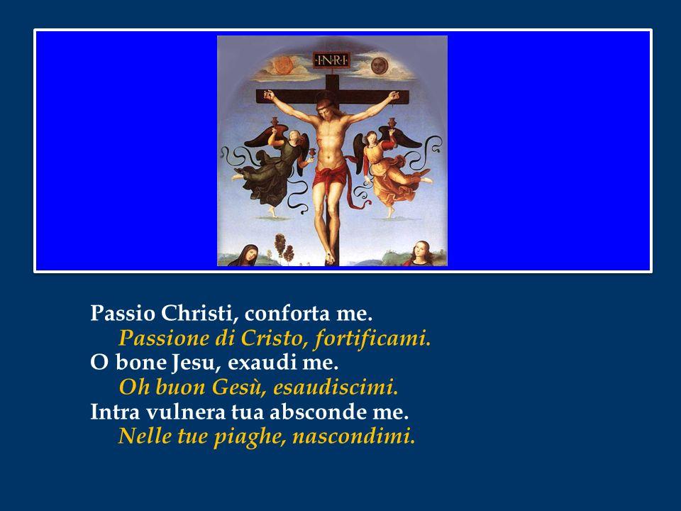 Anima Christi, sanctifica me. Anima di Cristo, santificami, Corpus Christi, salva me. Corpo di Cristo, salvami. Sanguis Christi, inebria me. Sangue di
