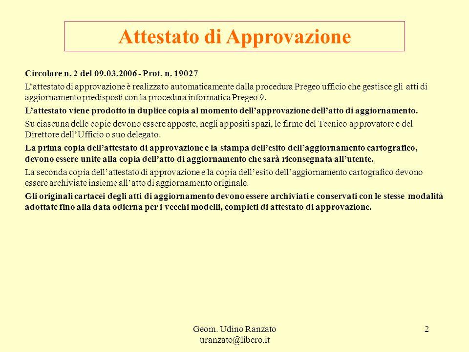 Geom. Udino Ranzato uranzato@libero.it 2 Attestato di Approvazione Circolare n. 2 del 09.03.2006 - Prot. n. 19027 Lattestato di approvazione è realizz