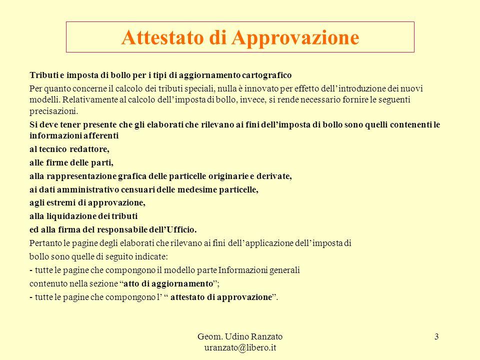 Geom. Udino Ranzato uranzato@libero.it 3 Attestato di Approvazione Tributi e imposta di bollo per i tipi di aggiornamento cartografico Per quanto conc