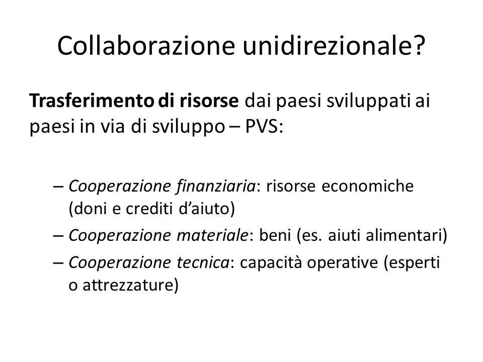 Collaborazione unidirezionale? Trasferimento di risorse dai paesi sviluppati ai paesi in via di sviluppo – PVS: – Cooperazione finanziaria: risorse ec