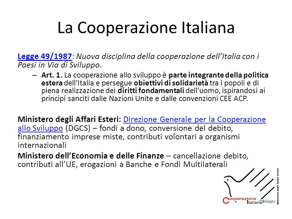 La Cooperazione Italiana Legge 49/1987Legge 49/1987: Nuova disciplina della cooperazione dellItalia con i Paesi in Via di Sviluppo. – Art. 1. La coope