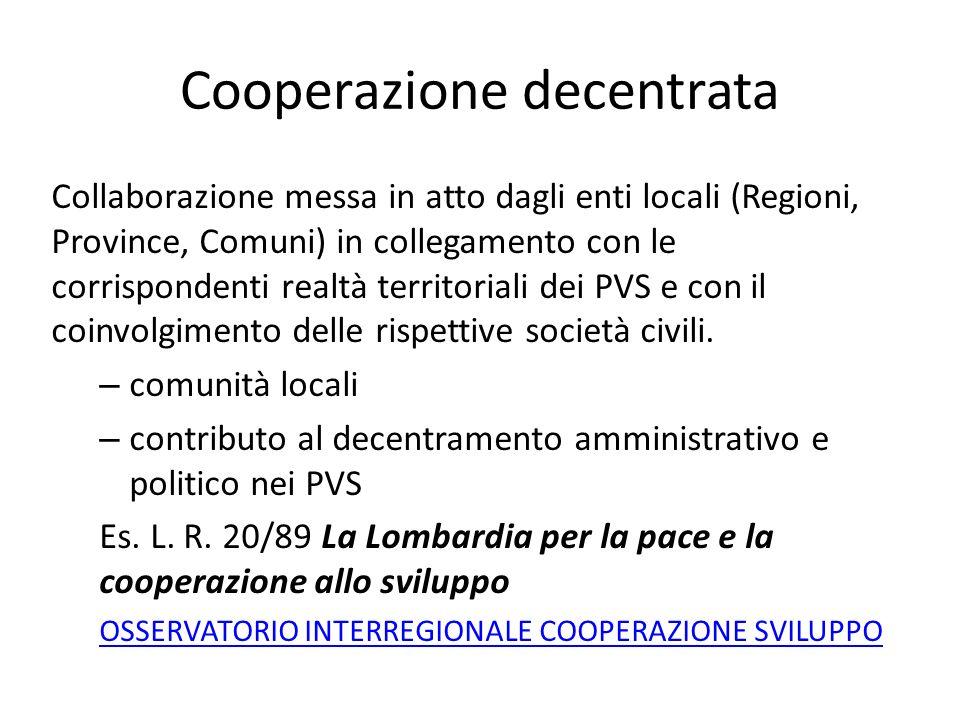 Cooperazione decentrata Collaborazione messa in atto dagli enti locali (Regioni, Province, Comuni) in collegamento con le corrispondenti realtà territ