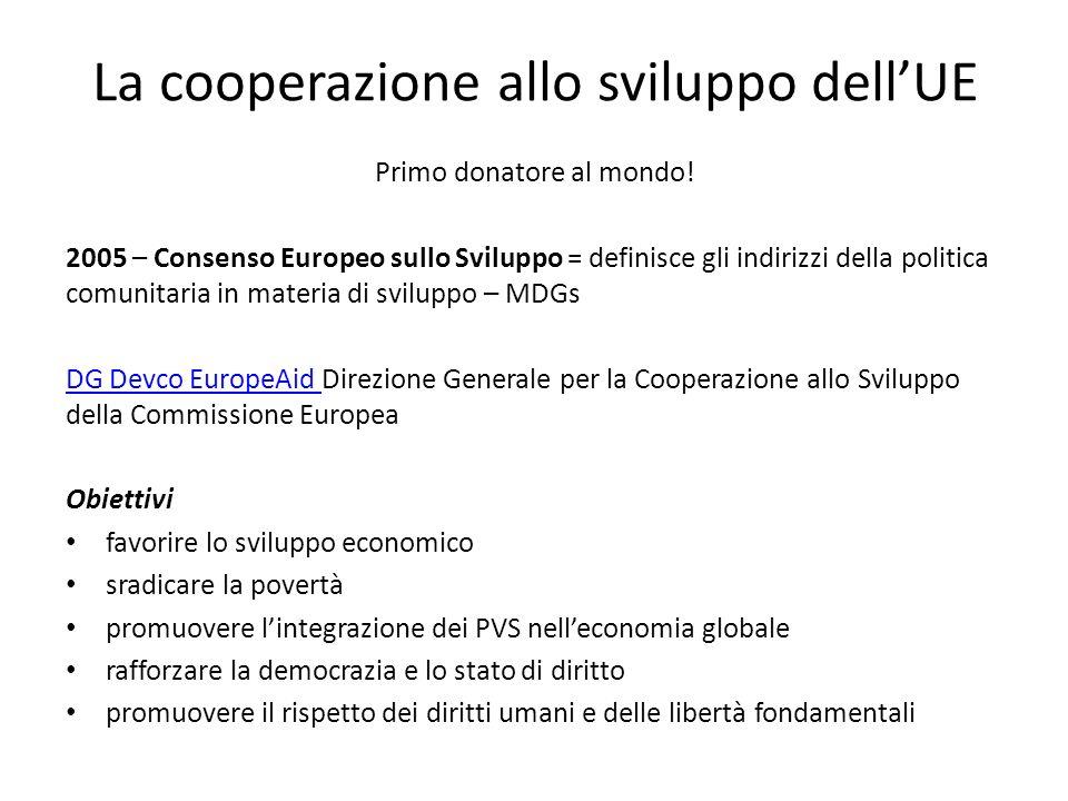 La cooperazione allo sviluppo dellUE Primo donatore al mondo! 2005 – Consenso Europeo sullo Sviluppo = definisce gli indirizzi della politica comunita