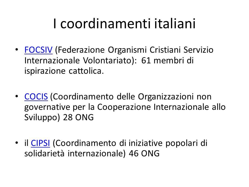 I coordinamenti italiani FOCSIV (Federazione Organismi Cristiani Servizio Internazionale Volontariato): 61 membri di ispirazione cattolica. FOCSIV COC