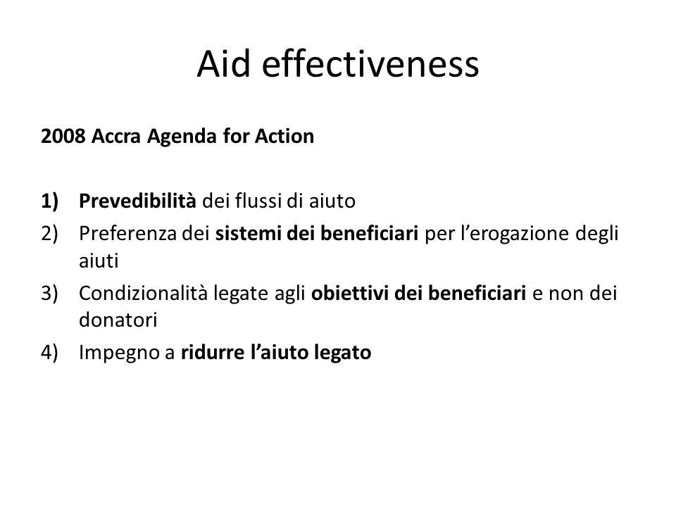 Aid effectiveness 2008 Accra Agenda for Action 1)Prevedibilità dei flussi di aiuto 2)Preferenza dei sistemi dei beneficiari per lerogazione degli aiut