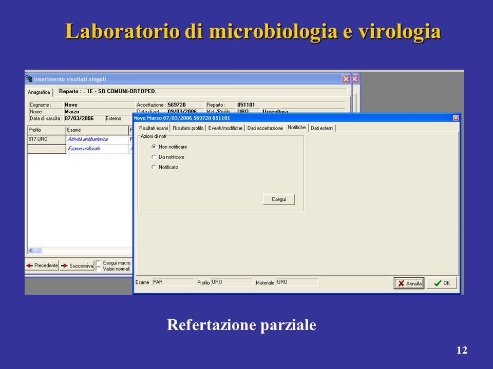 12 Laboratorio di microbiologia e virologia Refertazione parziale