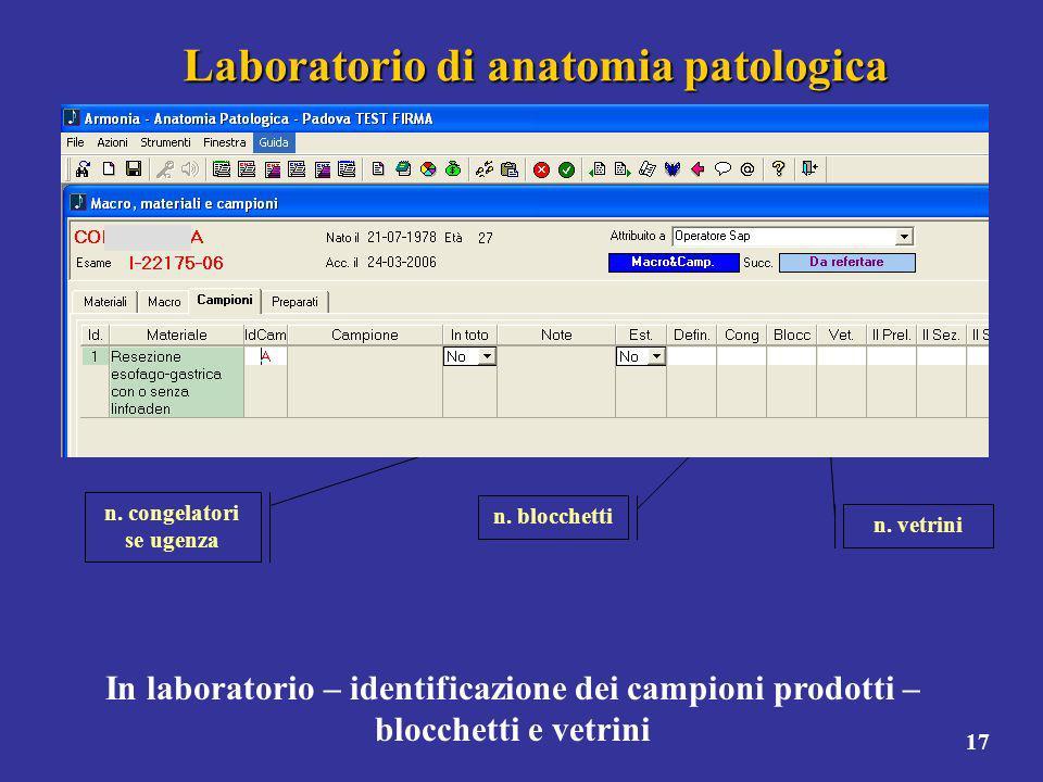 17 Laboratorio di anatomia patologica In laboratorio – identificazione dei campioni prodotti – blocchetti e vetrini n. congelatori se ugenza n. blocch