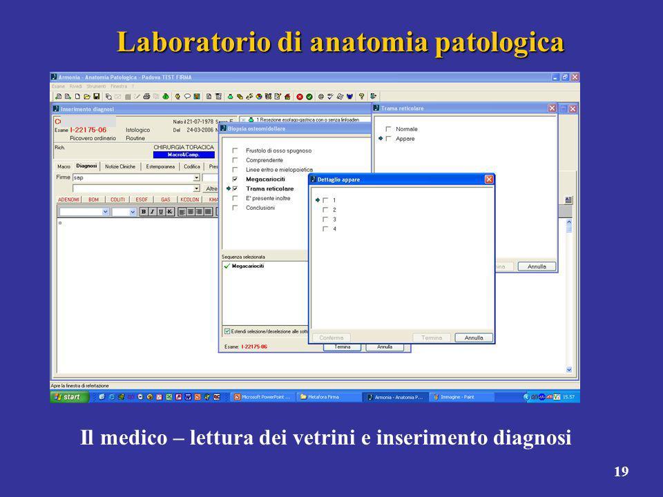19 Laboratorio di anatomia patologica Il medico – lettura dei vetrini e inserimento diagnosi