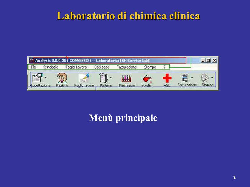 2 Laboratorio di chimica clinica Menù principale