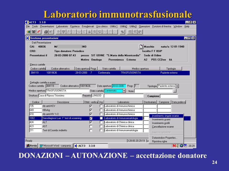24 Laboratorio immunotrasfusionale DONAZIONI – AUTONAZIONE – accettazione donatore