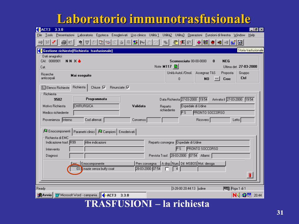 31 Laboratorio immunotrasfusionale TRASFUSIONI – la richiesta