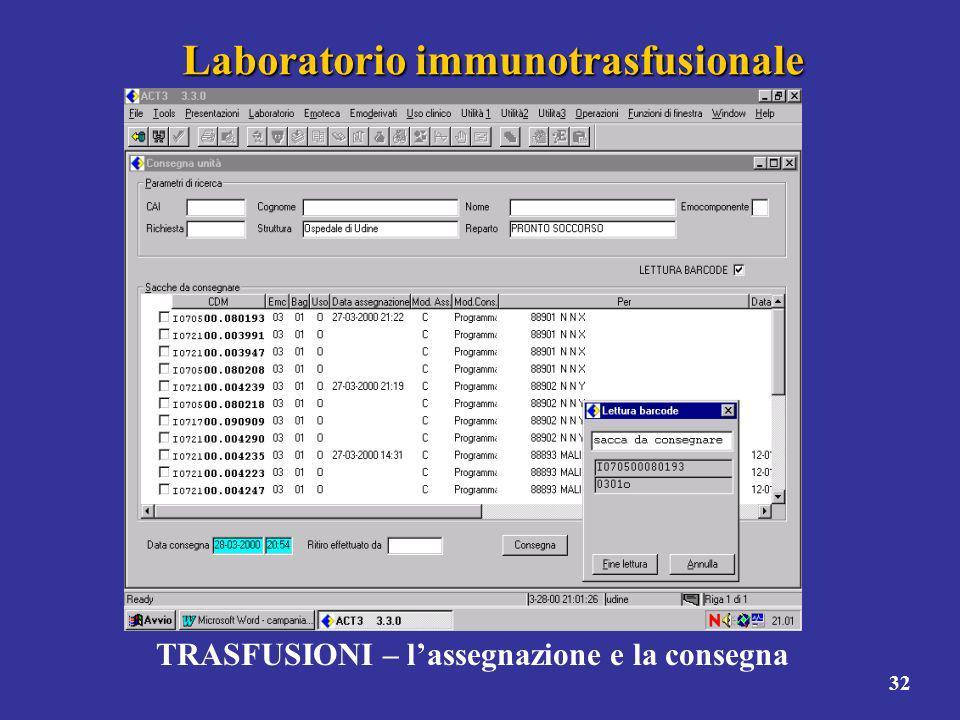 32 Laboratorio immunotrasfusionale TRASFUSIONI – lassegnazione e la consegna