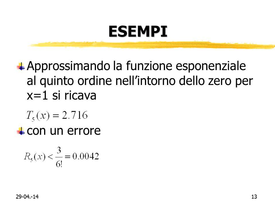 ESEMPI Approssimando la funzione esponenziale al quinto ordine nellintorno dello zero per x=1 si ricava con un errore 29-04.-1413