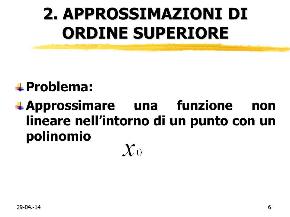 29-04.-146 2. APPROSSIMAZIONI DI ORDINE SUPERIORE Problema: Approssimare una funzione non lineare nellintorno di un punto con un polinomio
