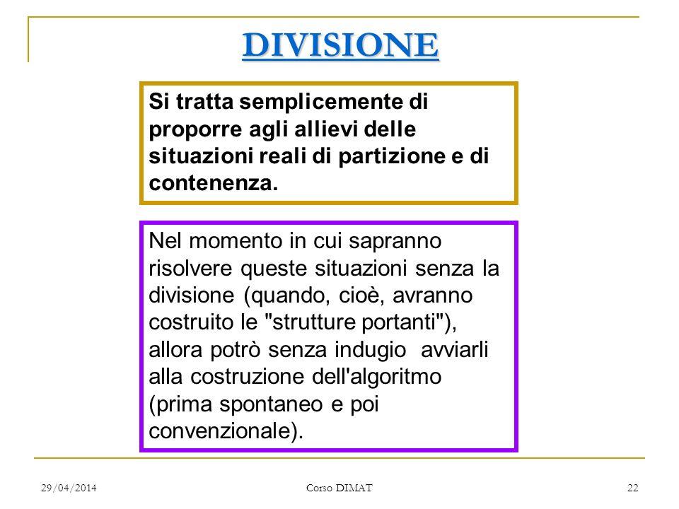 29/04/2014 Corso DIMAT 22 DIVISIONE Si tratta semplicemente di proporre agli allievi delle situazioni reali di partizione e di contenenza. Nel momento