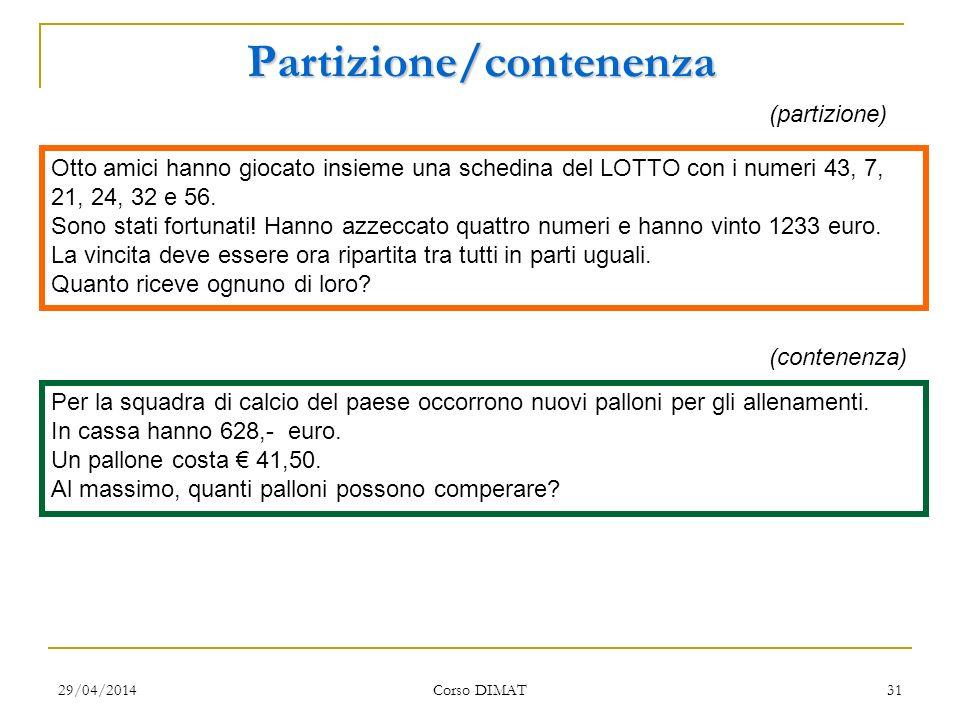 29/04/2014 Corso DIMAT 31 Partizione/contenenza Otto amici hanno giocato insieme una schedina del LOTTO con i numeri 43, 7, 21, 24, 32 e 56. Sono stat