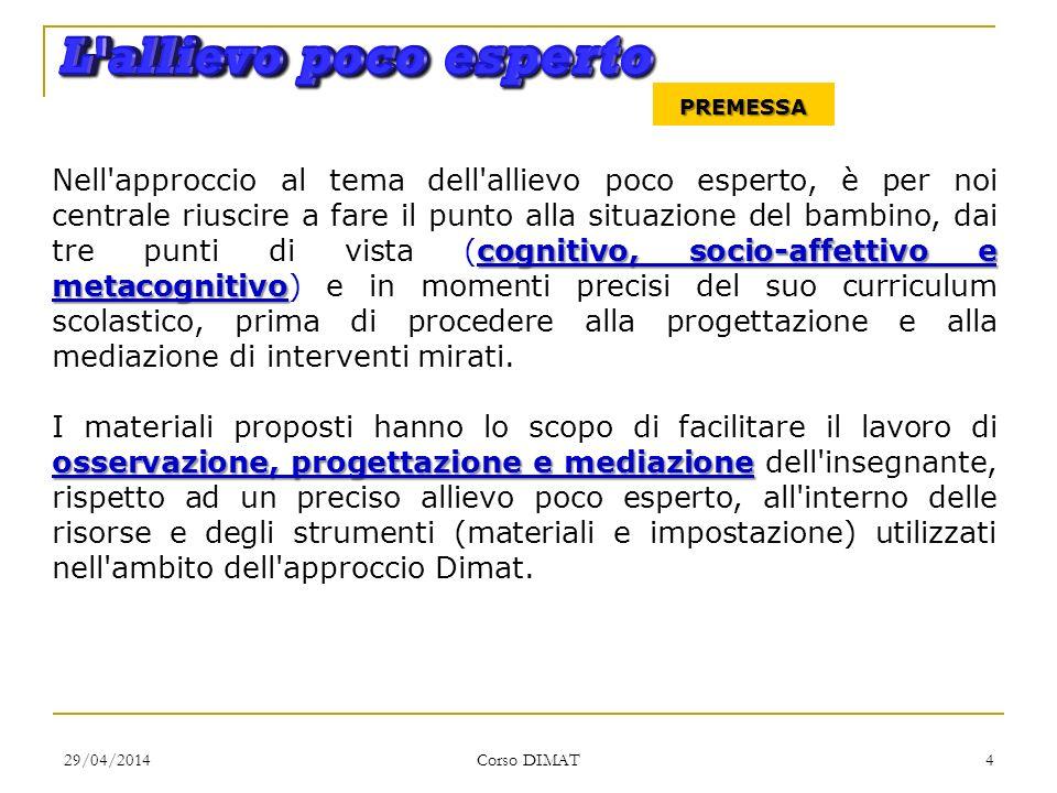 29/04/2014 Corso DIMAT 4 PREMESSA cognitivo, socio-affettivo e metacognitivo Nell'approccio al tema dell'allievo poco esperto, è per noi centrale rius