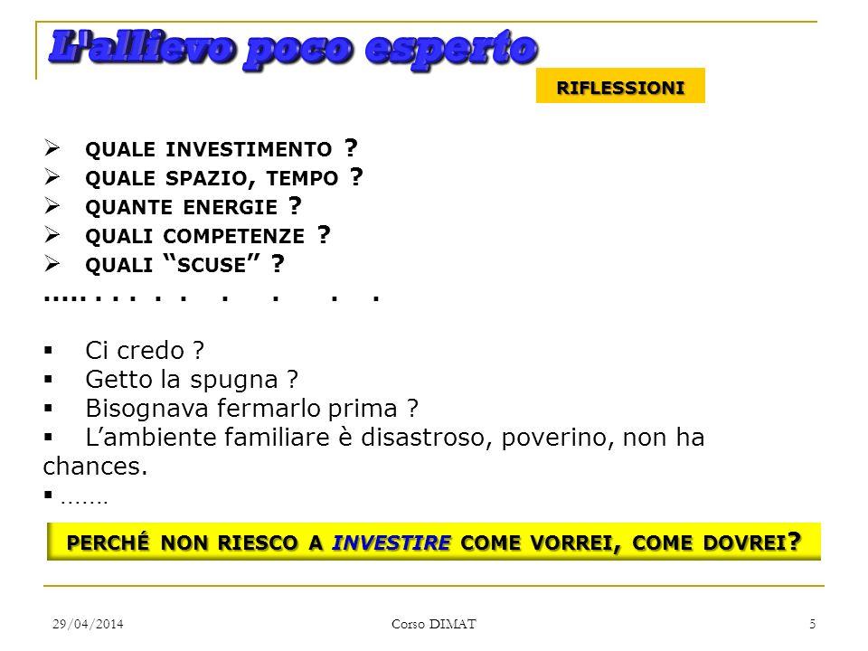 29/04/2014 Corso DIMAT 5 RIFLESSIONI QUALE INVESTIMENTO ? QUALE SPAZIO, TEMPO ? QUANTE ENERGIE ? QUALI COMPETENZE ? QUALI SCUSE ?.............. Ci cre