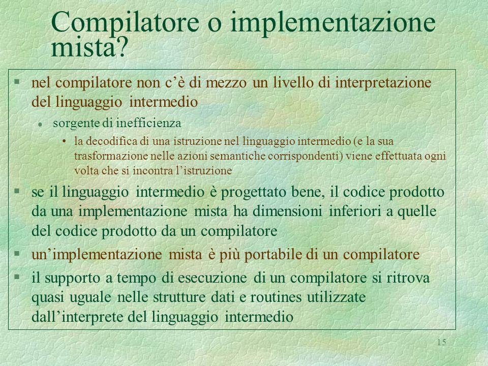 15 Compilatore o implementazione mista? §nel compilatore non cè di mezzo un livello di interpretazione del linguaggio intermedio l sorgente di ineffic