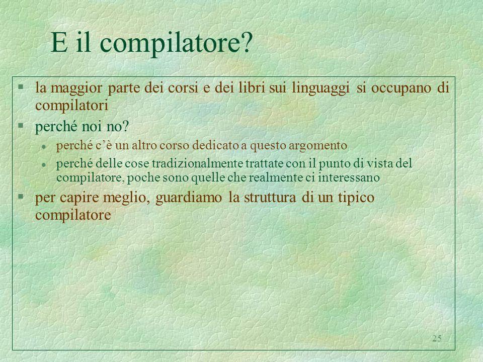 25 E il compilatore? §la maggior parte dei corsi e dei libri sui linguaggi si occupano di compilatori §perché noi no? l perché cè un altro corso dedic