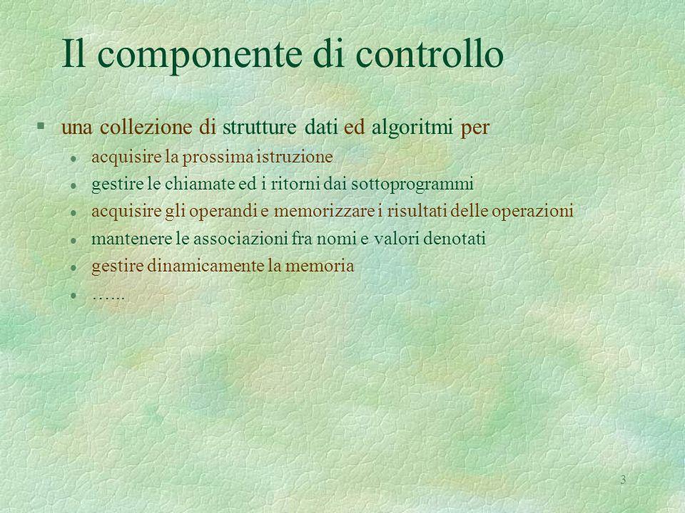 3 Il componente di controllo §una collezione di strutture dati ed algoritmi per l acquisire la prossima istruzione l gestire le chiamate ed i ritorni