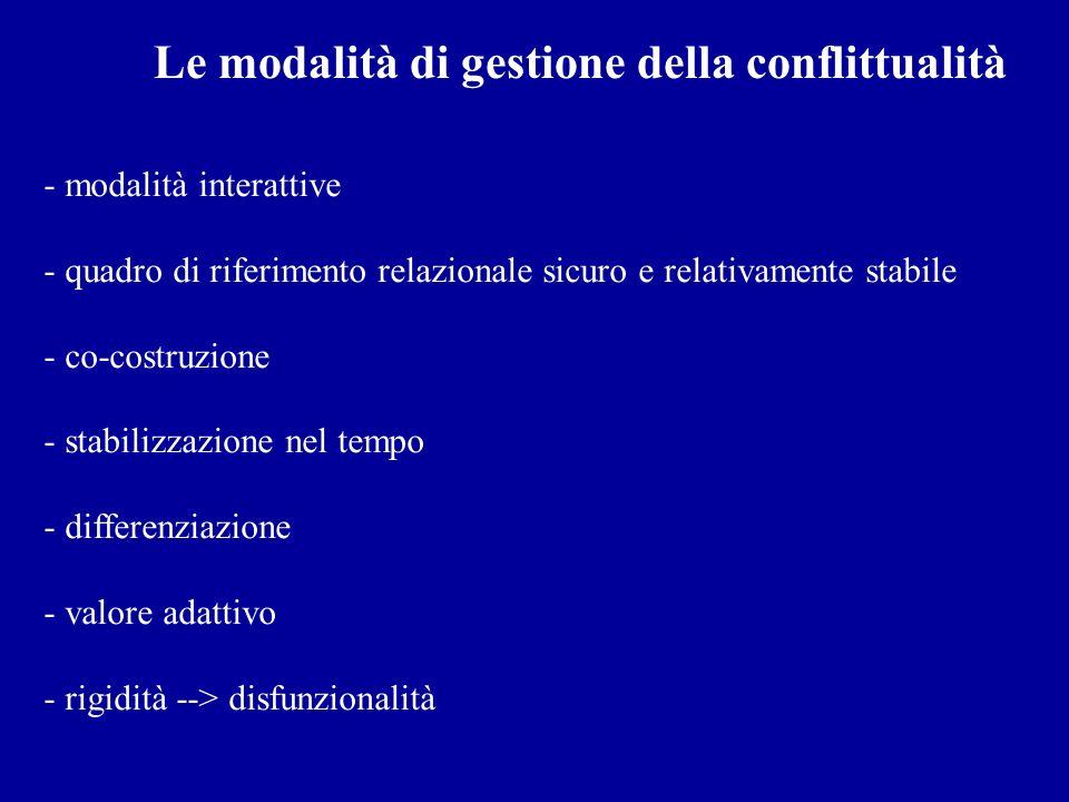 Le modalità di gestione della conflittualità - modalità interattive - quadro di riferimento relazionale sicuro e relativamente stabile - co-costruzion