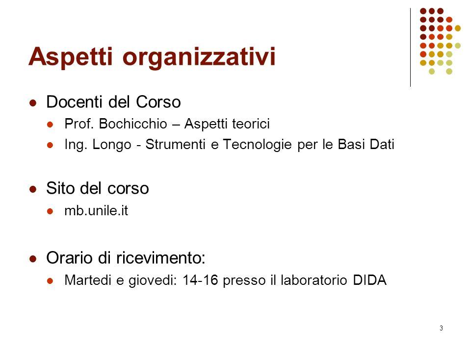 3 Aspetti organizzativi Docenti del Corso Prof. Bochicchio – Aspetti teorici Ing.