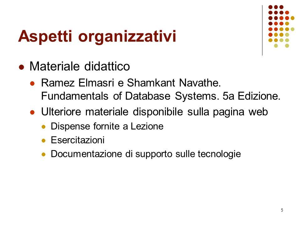 5 Aspetti organizzativi Materiale didattico Ramez Elmasri e Shamkant Navathe.