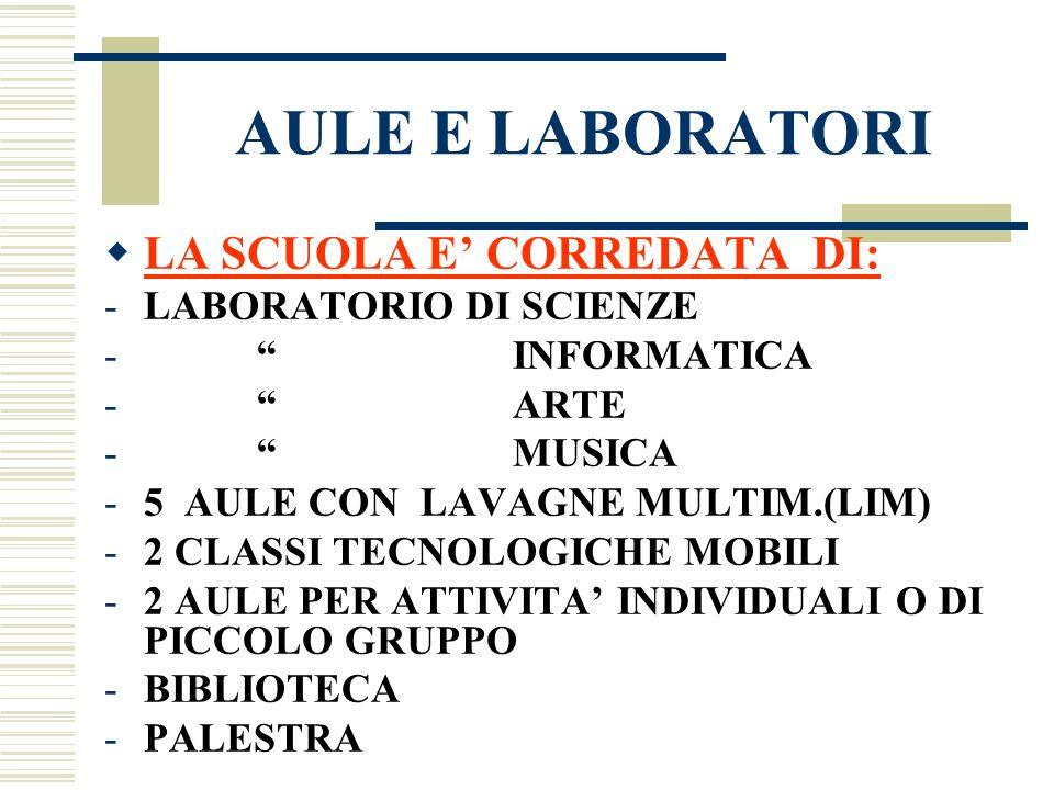 AULE E LABORATORI LA SCUOLA E CORREDATA DI: -LABORATORIO DI SCIENZE - INFORMATICA - ARTE - MUSICA -5 AULE CON LAVAGNE MULTIM.(LIM) -2 CLASSI TECNOLOGI
