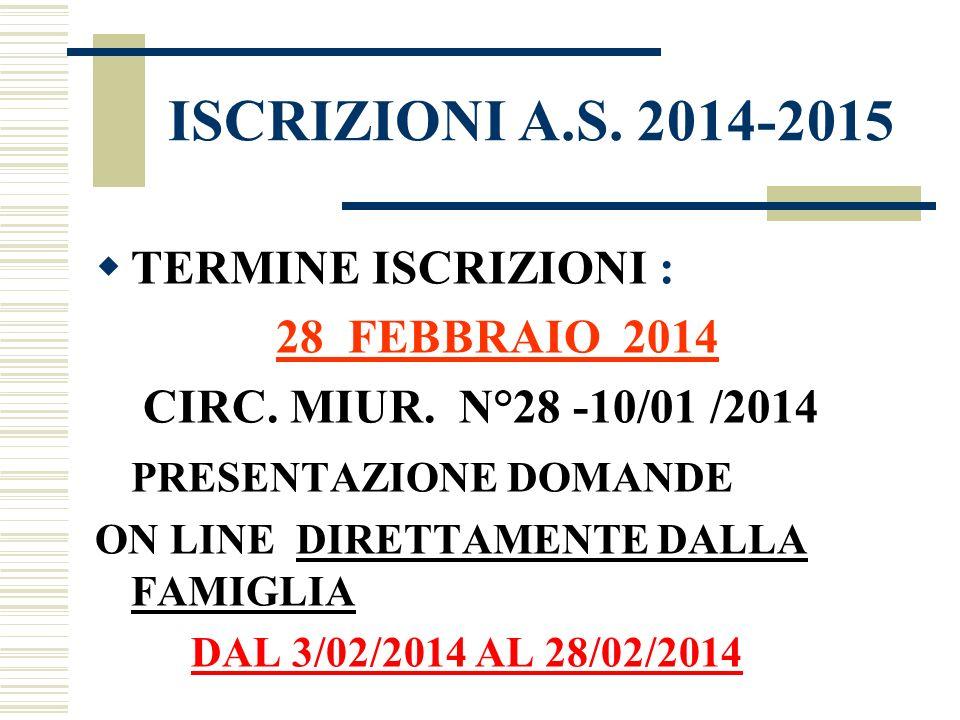 ISCRIZIONI A.S. 2014-2015 TERMINE ISCRIZIONI : 28 FEBBRAIO 2014 CIRC. MIUR. N°28 -10/01 /2014 PRESENTAZIONE DOMANDE ON LINE DIRETTAMENTE DALLA FAMIGLI