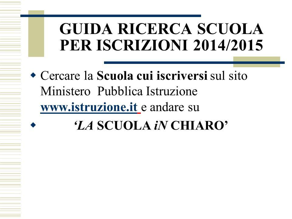 GUIDA RICERCA SCUOLA PER ISCRIZIONI 2014/2015 Cercare la Scuola cui iscriversi sul sito Ministero Pubblica Istruzione www.istruzione.it e andare su ww