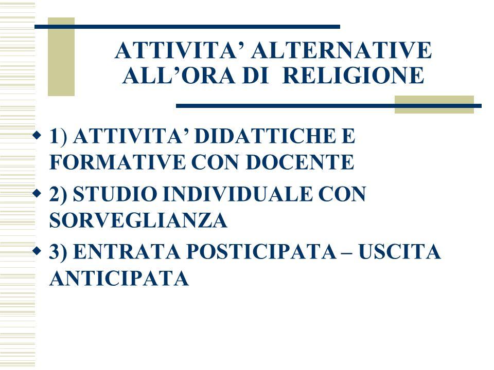 ATTIVITA ALTERNATIVE ALLORA DI RELIGIONE 1) ATTIVITA DIDATTICHE E FORMATIVE CON DOCENTE 2) STUDIO INDIVIDUALE CON SORVEGLIANZA 3) ENTRATA POSTICIPATA