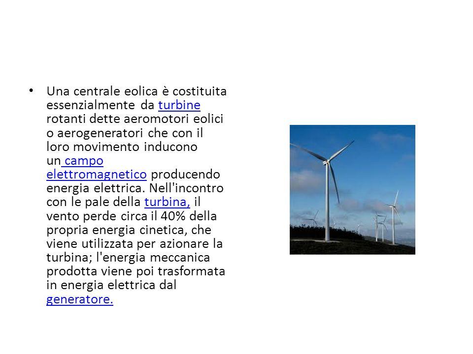 Una centrale eolica è costituita essenzialmente da turbine rotanti dette aeromotori eolici o aerogeneratori che con il loro movimento inducono un camp