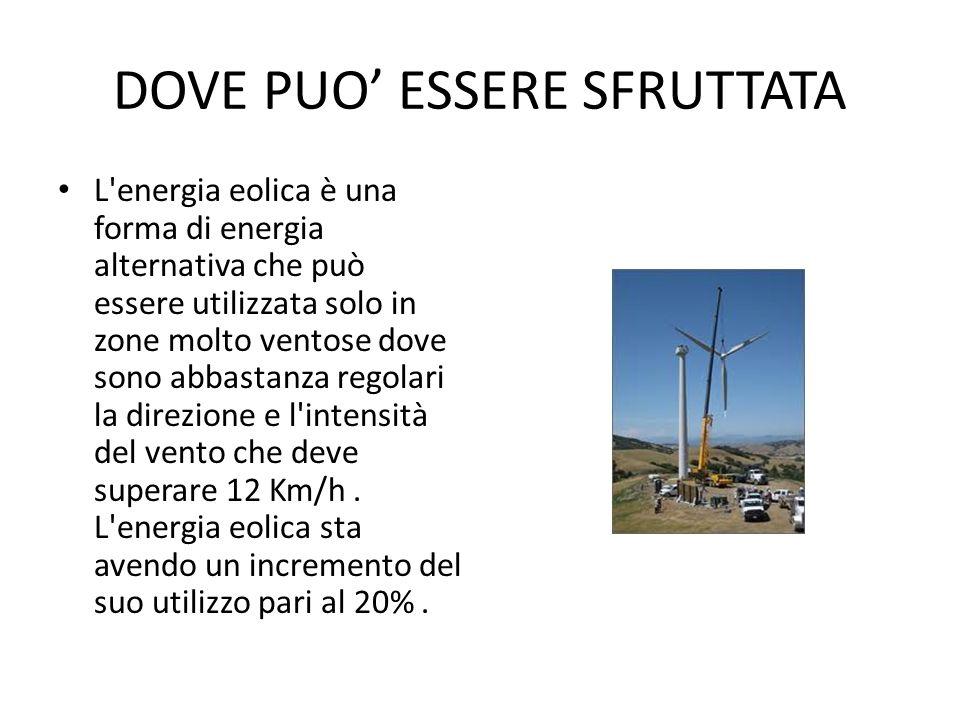 DOVE PUO ESSERE SFRUTTATA L'energia eolica è una forma di energia alternativa che può essere utilizzata solo in zone molto ventose dove sono abbastanz