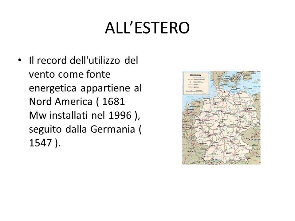 ALLESTERO Il record dell'utilizzo del vento come fonte energetica appartiene al Nord America ( 1681 Mw installati nel 1996 ), seguito dalla Germania (