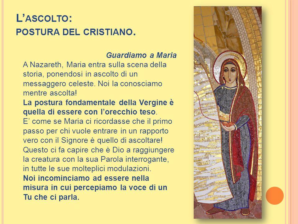 L ASCOLTO : POSTURA DEL CRISTIANO. Guardiamo a Maria A Nazareth, Maria entra sulla scena della storia, ponendosi in ascolto di un messaggero celeste.