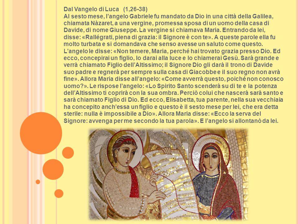 Dal Vangelo di Luca (1,26-38) Al sesto mese, langelo Gabriele fu mandato da Dio in una città della Galilea, chiamata Nàzaret, a una vergine, promessa
