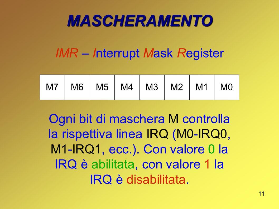 11 MASCHERAMENTO IMR – Interrupt Mask Register M7M6M5M4M3M2M1M0 Ogni bit di maschera M controlla la rispettiva linea IRQ (M0-IRQ0, M1-IRQ1, ecc.). Con