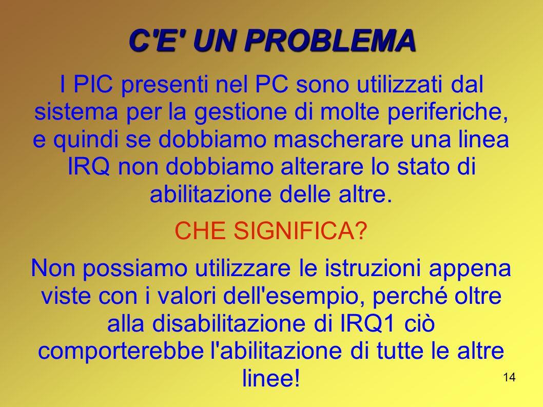 14 C'E' UN PROBLEMA I PIC presenti nel PC sono utilizzati dal sistema per la gestione di molte periferiche, e quindi se dobbiamo mascherare una linea