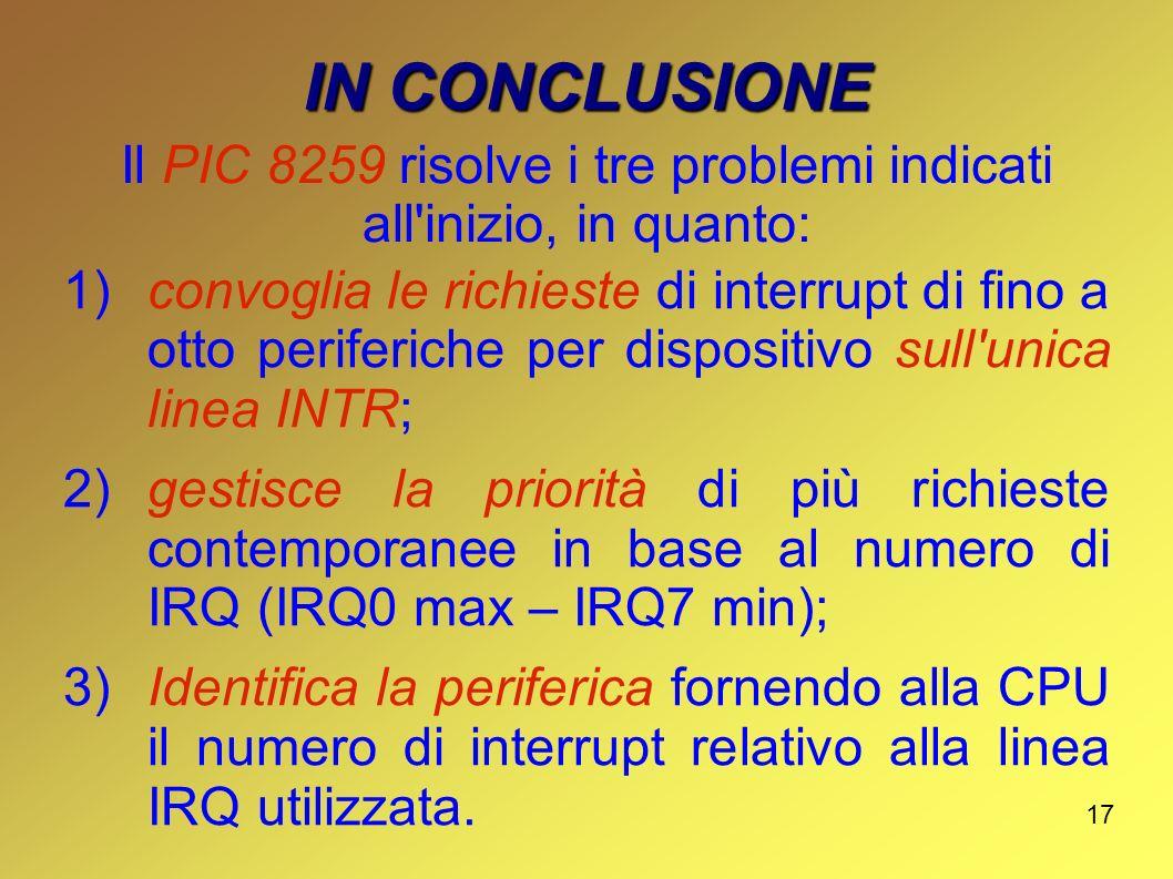 17 IN CONCLUSIONE 1)convoglia le richieste di interrupt di fino a otto periferiche per dispositivo sull'unica linea INTR; 2)gestisce la priorità di pi