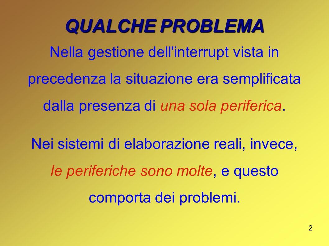 2 QUALCHE PROBLEMA Nella gestione dell'interrupt vista in precedenza la situazione era semplificata dalla presenza di una sola periferica. Nei sistemi